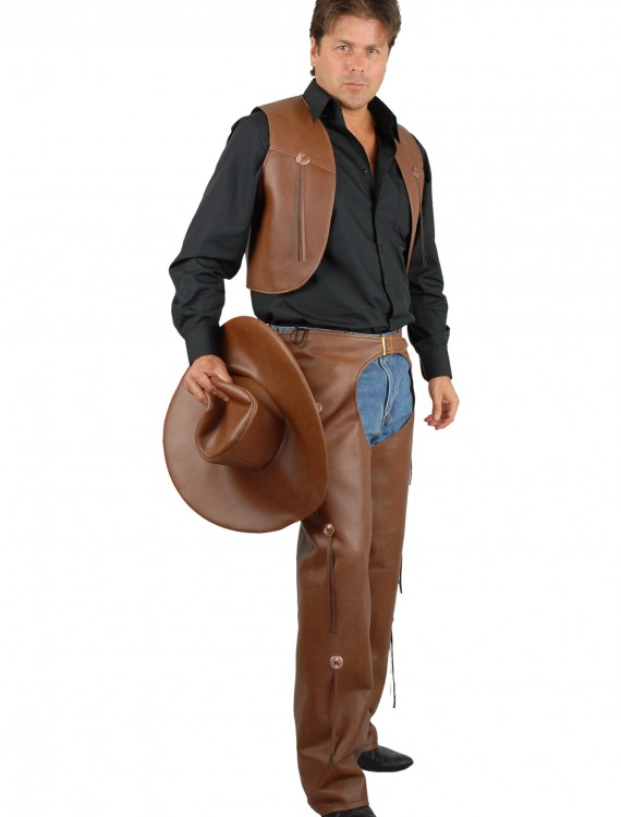 Men's Brown Chaps and Vest, halloween costume (Men's Brown Chaps and Vest)