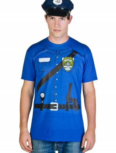 Mens Cop Costume T-Shirt, halloween costume (Mens Cop Costume T-Shirt)