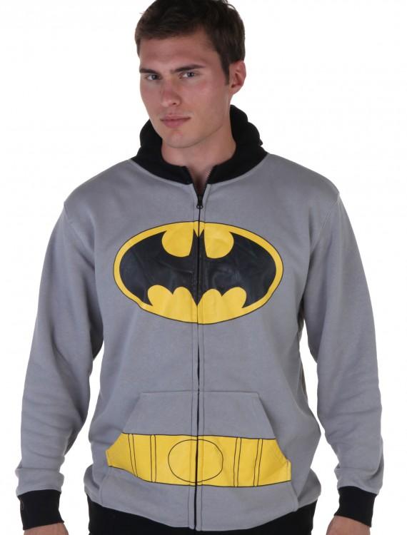 Mens Gray Batman Suit Hoodie, halloween costume (Mens Gray Batman Suit Hoodie)
