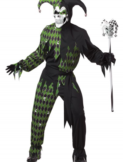 Mens Green Scary Jester Costume, halloween costume (Mens Green Scary Jester Costume)