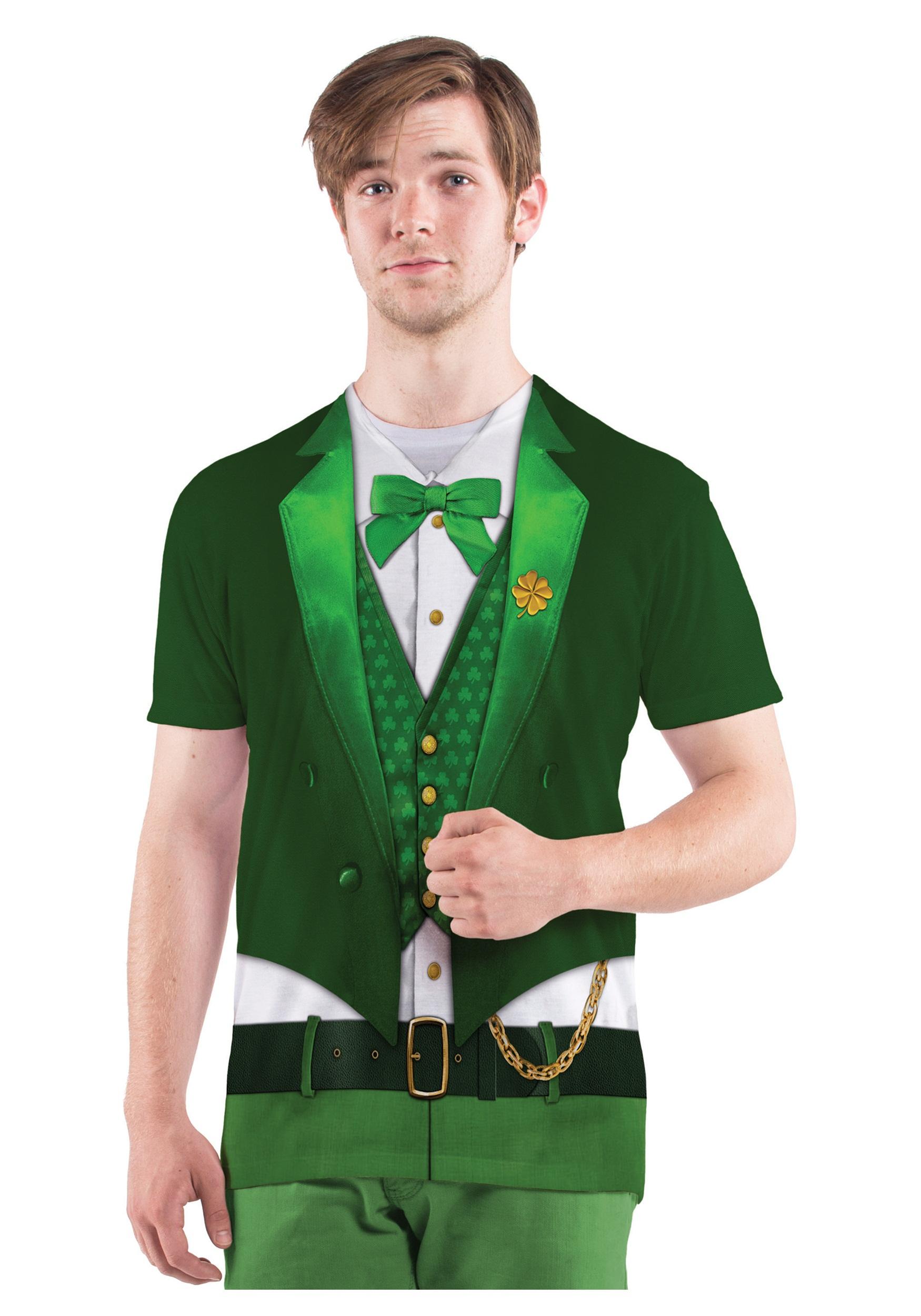 Mens Lucky Leprechaun Costume T Shirt Halloween Costumes