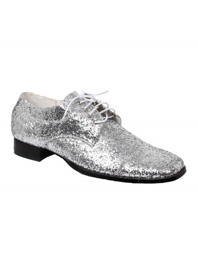 Men's Silver Glitter Disco Shoes, halloween costume (Men's Silver Glitter Disco Shoes)