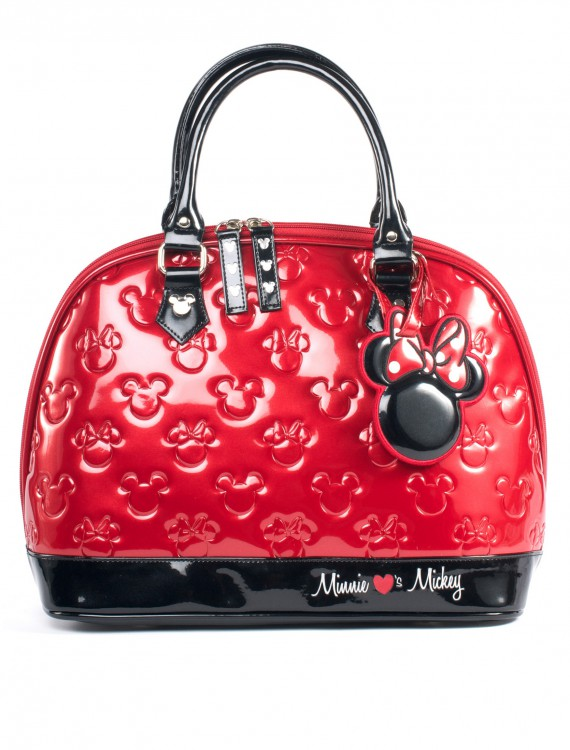 Mickey and Minnie Red and Black Patent Embossed Bag, halloween costume (Mickey and Minnie Red and Black Patent Embossed Bag)