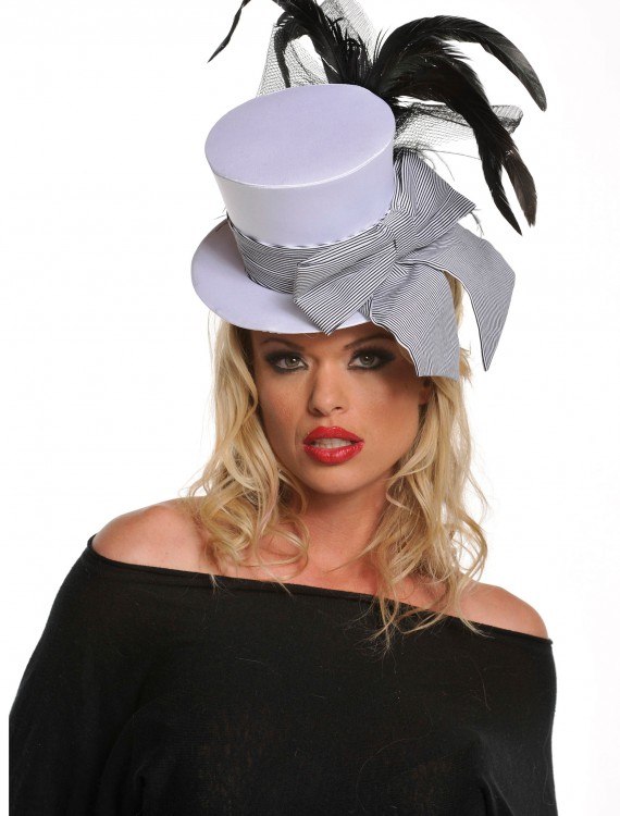 Mini White Burlesque Hat, halloween costume (Mini White Burlesque Hat)