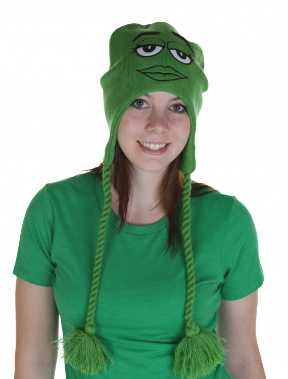 M&M's Big Face Green Laplander Hat, halloween costume (M&M's Big Face Green Laplander Hat)
