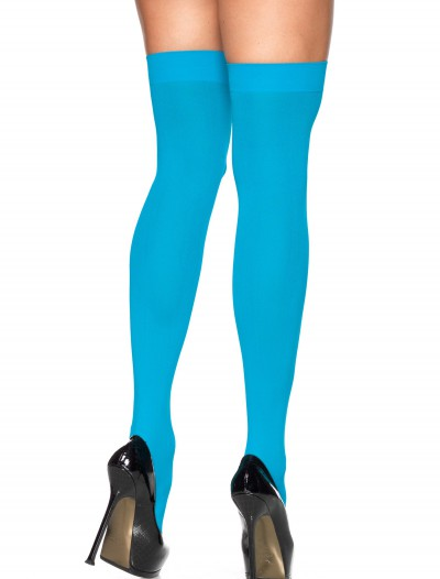 Neon Blue Thigh High Stockings, halloween costume (Neon Blue Thigh High Stockings)