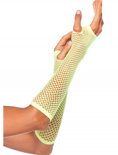 Neon Green Fishnet Gloves, halloween costume (Neon Green Fishnet Gloves)