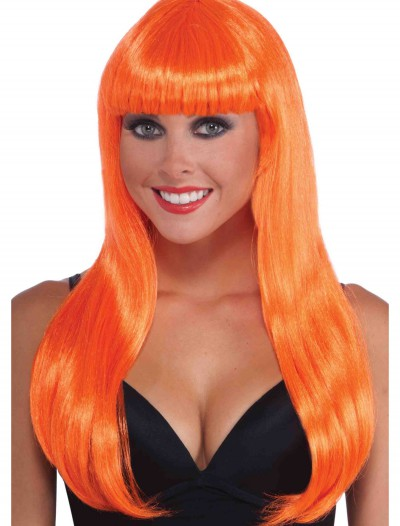 Neon Orange Long Wig, halloween costume (Neon Orange Long Wig)