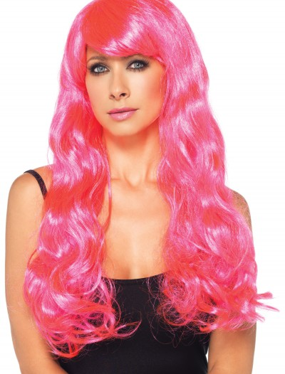 Neon Pink Long Wig, halloween costume (Neon Pink Long Wig)