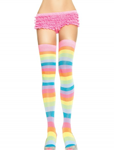 Neon Rainbow Thigh High Stockings, halloween costume (Neon Rainbow Thigh High Stockings)