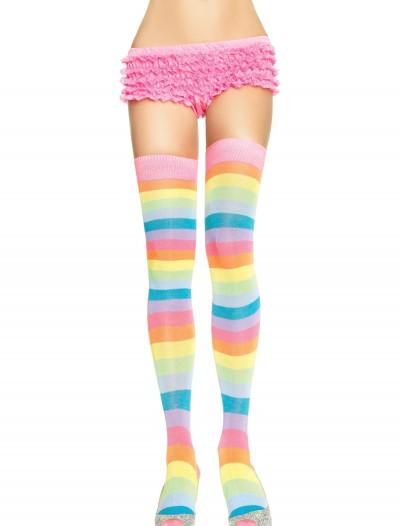 Neon Rainbow Thigh High Stockings, halloween costume (Neon Rainbow Thigh High Stockings)