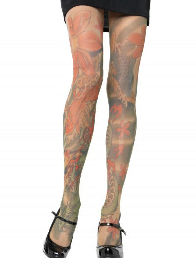 Opaque Tattoo Print Pantyhose, halloween costume (Opaque Tattoo Print Pantyhose)