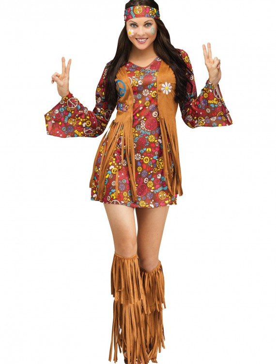 Peace & Love Hippie Adult Costume, halloween costume (Peace & Love Hippie Adult Costume)