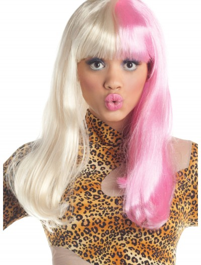 Pink and White Diva Wig, halloween costume (Pink and White Diva Wig)
