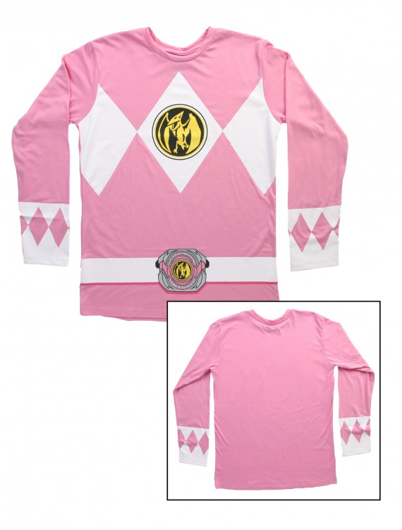 Pink Power Rangers Long Sleeve Costume Shirt, halloween costume (Pink Power Rangers Long Sleeve Costume Shirt)