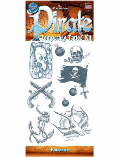 Pirate Buccaneer Temporary Tattoo Kit, halloween costume (Pirate Buccaneer Temporary Tattoo Kit)