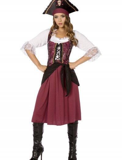 Plus Burgundy Pirate Wench Costume, halloween costume (Plus Burgundy Pirate Wench Costume)