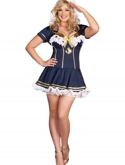 Plus Size Navy Pin Up Sailor Costume, halloween costume (Plus Size Navy Pin Up Sailor Costume)