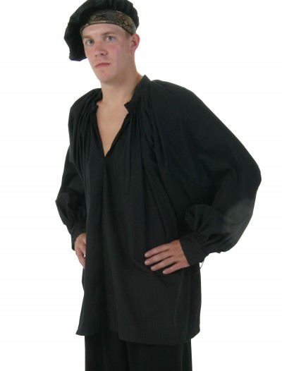 Plus Size Black Peasant Shirt, halloween costume (Plus Size Black Peasant Shirt)