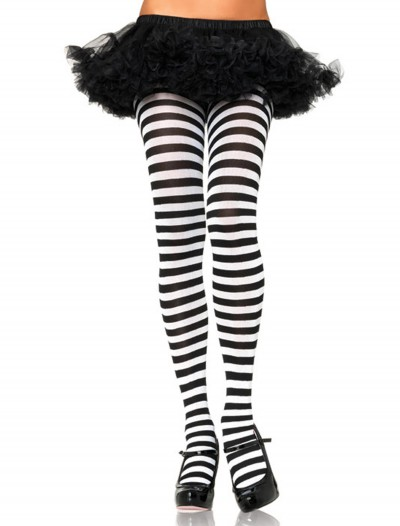 Plus Size Black / White Striped Tights, halloween costume (Plus Size Black / White Striped Tights)