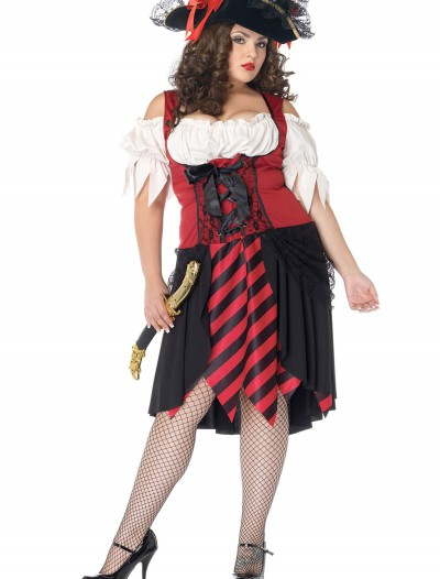 Plus Size Crimson Pirate Costume, halloween costume (Plus Size Crimson Pirate Costume)