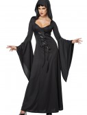 Plus Size Hooded Black Lace Up Robe, halloween costume (Plus Size Hooded Black Lace Up Robe)