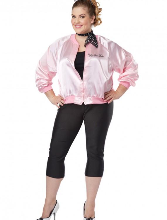 Plus Size Pink Satin Ladies Jacket, halloween costume (Plus Size Pink Satin Ladies Jacket)