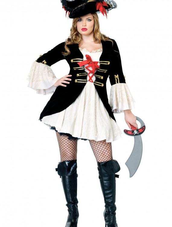 Plus Size Sexy Captain Swashbuckler Costume, halloween costume (Plus Size Sexy Captain Swashbuckler Costume)