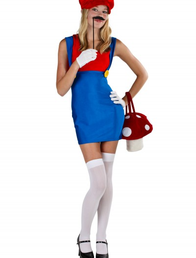 Plus Size Sexy Red Plumber Costume, halloween costume (Plus Size Sexy Red Plumber Costume)