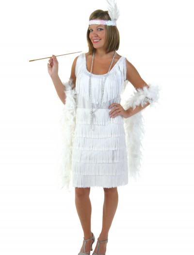 Plus Size White Flapper Girl Costume, halloween costume (Plus Size White Flapper Girl Costume)