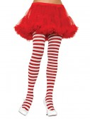 Plus Size White / Red Striped Tights, halloween costume (Plus Size White / Red Striped Tights)