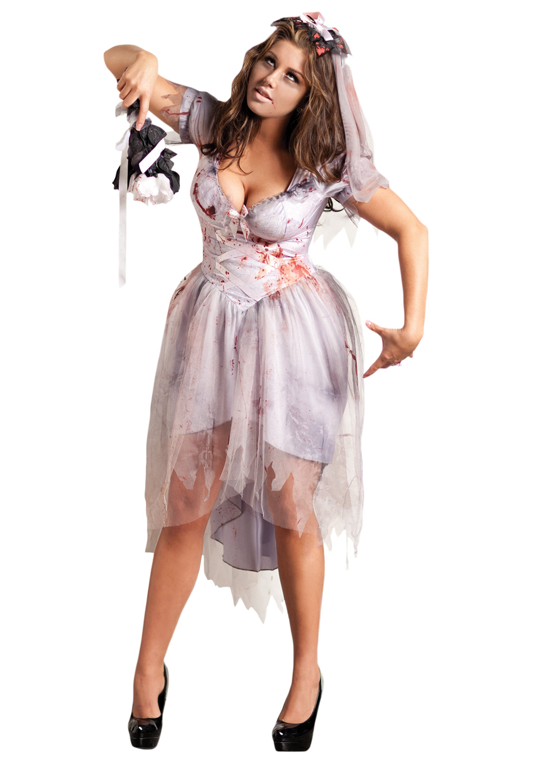 Dead Bride Halloween Costume.Plus Size Zombie Bride Costume