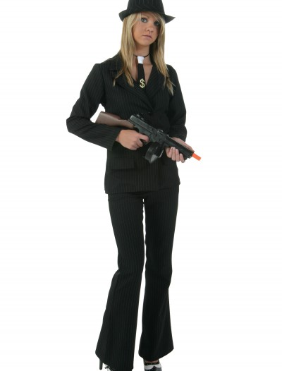 Plus Womens Black Gangster Costume, halloween costume (Plus Womens Black Gangster Costume)