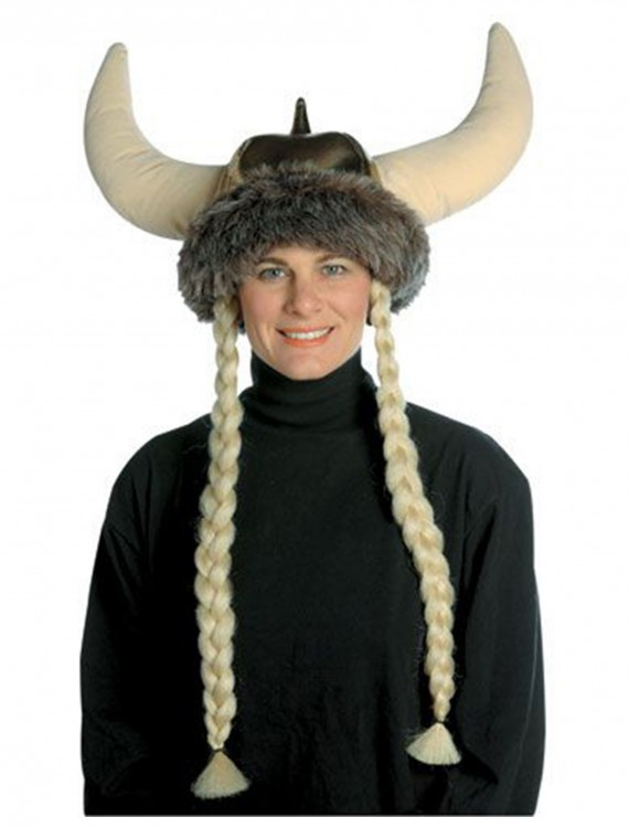Plush Viking Hat w/Braids, halloween costume (Plush Viking Hat w/Braids)