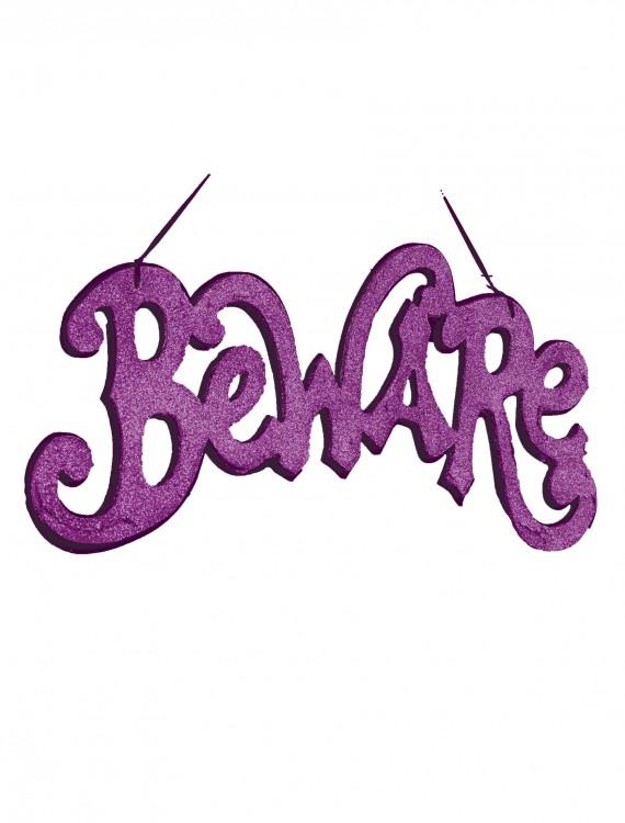 Purple Beware Cutout Sign, halloween costume (Purple Beware Cutout Sign)