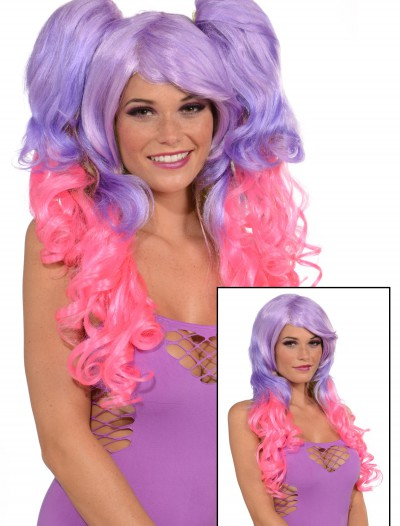 Purple/Pink 3 Piece Wig, halloween costume (Purple/Pink 3 Piece Wig)