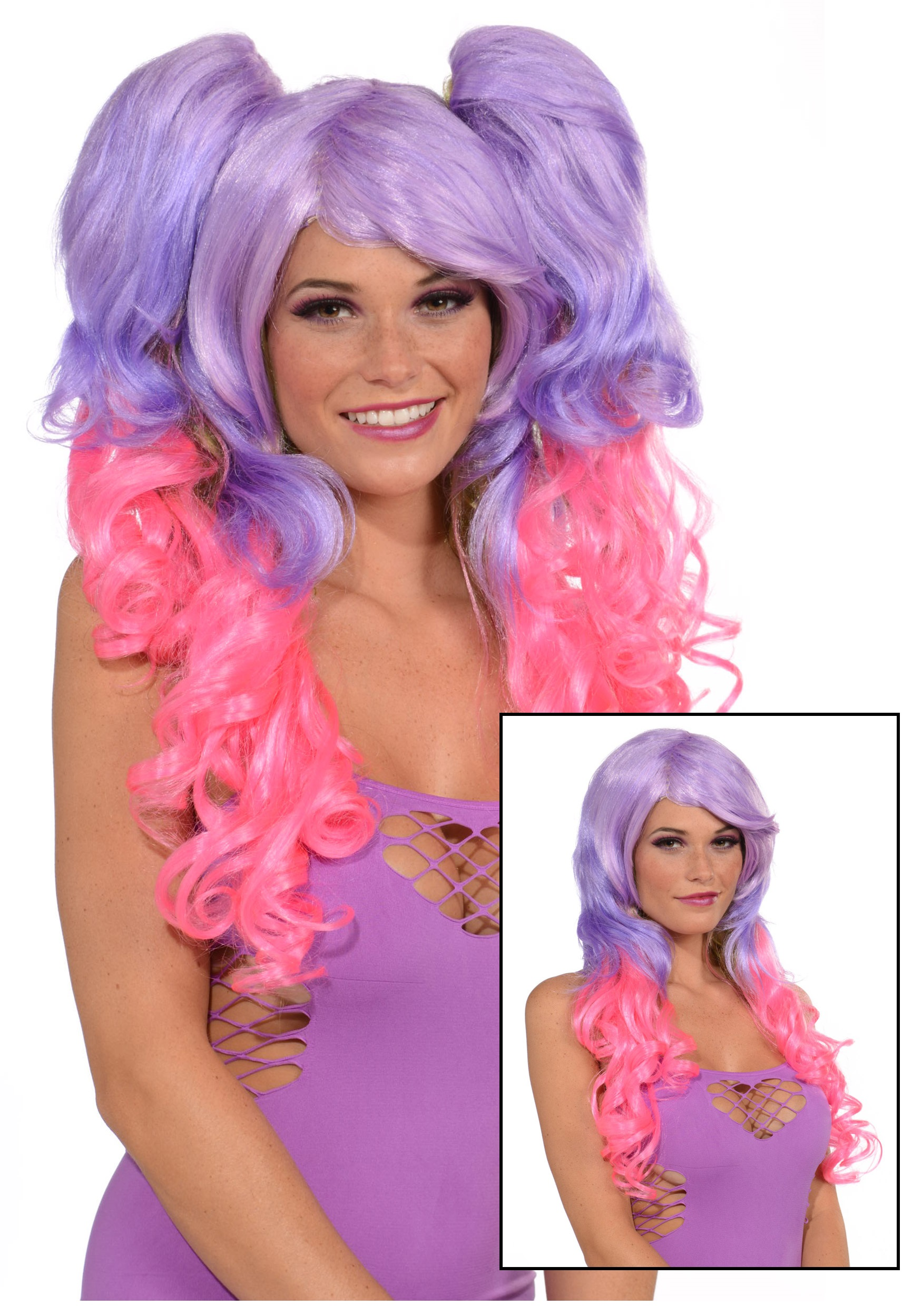 purplepink 3 piece wig