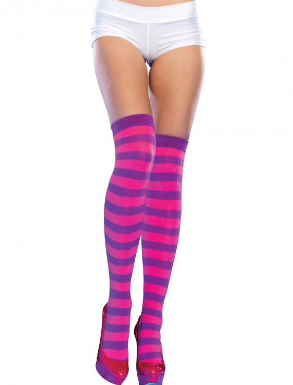 Purple/Pink Striped Thigh High Stockings, halloween costume (Purple/Pink Striped Thigh High Stockings)