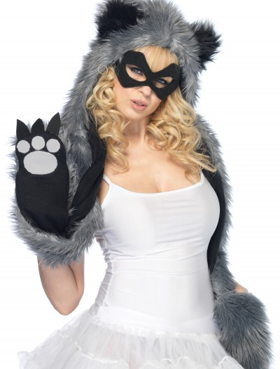 Raccoon Hood w/ Paws and Mask, halloween costume (Raccoon Hood w/ Paws and Mask)