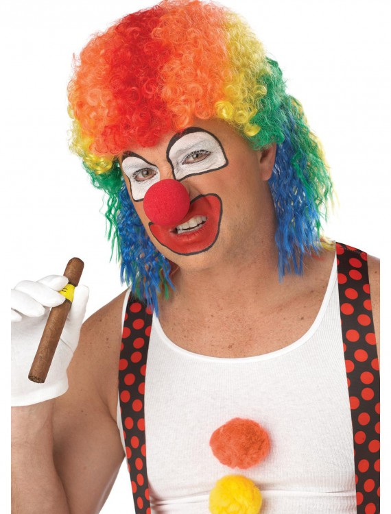 Rainbow Clown Mullet Wig, halloween costume (Rainbow Clown Mullet Wig)