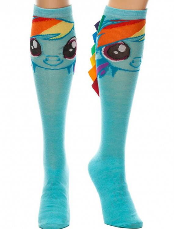 Rainbow Dash With Ribbon Mane Knee High Socks, halloween costume (Rainbow Dash With Ribbon Mane Knee High Socks)
