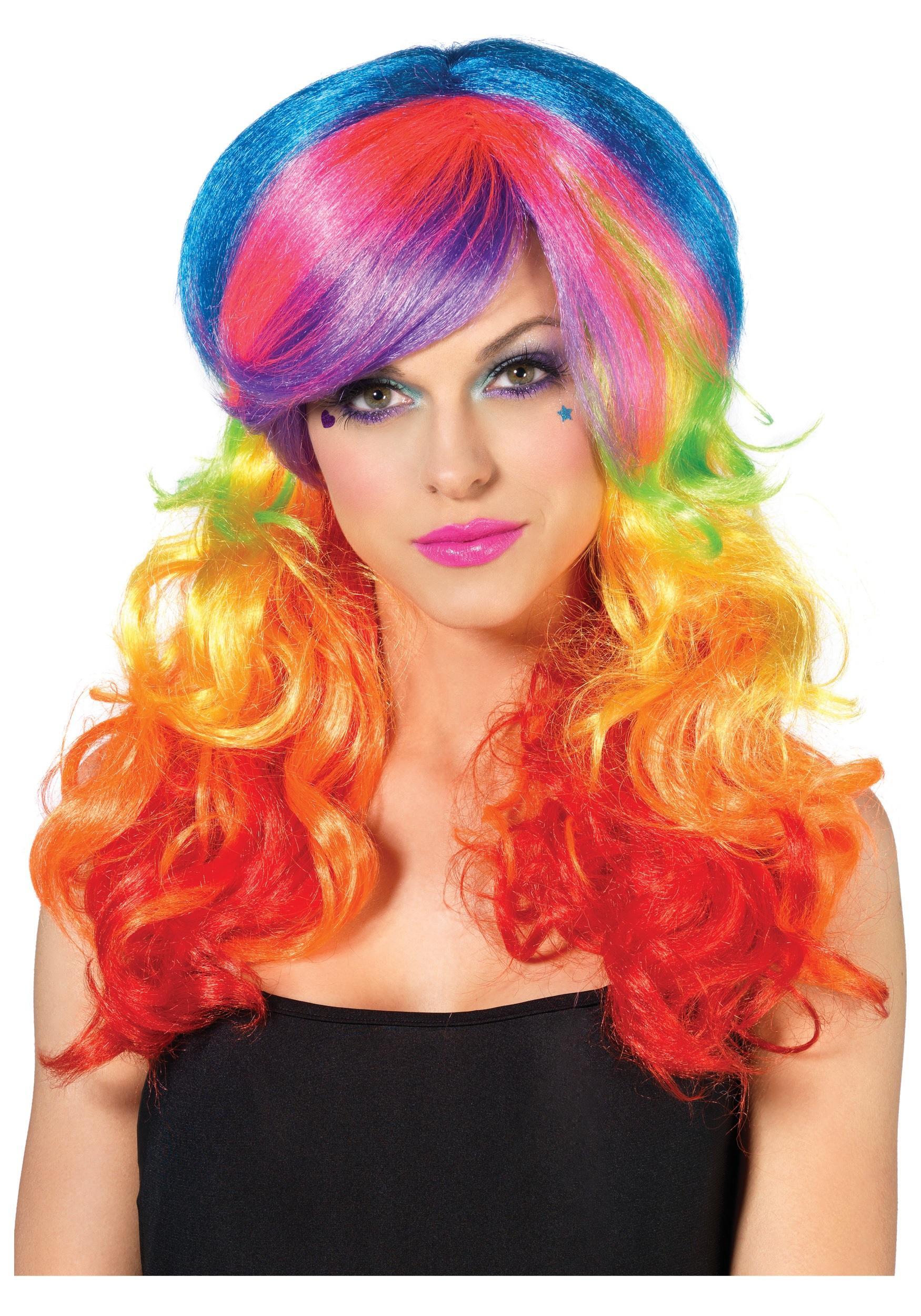 Gay Pride Halloween Costume.Rainbow Rocker Wig