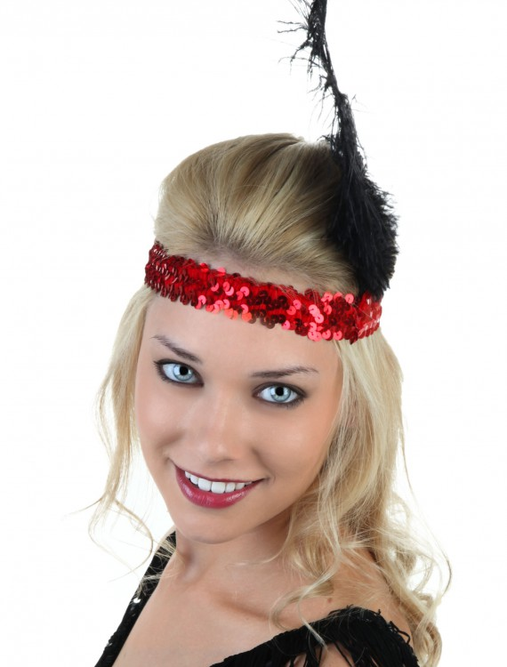 Red and Black Flapper Headband, halloween costume (Red and Black Flapper Headband)