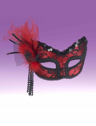 Red Black Lace Half Mask, halloween costume (Red Black Lace Half Mask)