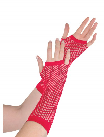 Red Fishnet Long Gloves, halloween costume (Red Fishnet Long Gloves)