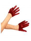 Red Mini Cropped Satin Gloves, halloween costume (Red Mini Cropped Satin Gloves)
