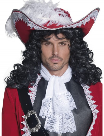 Red Pirate Hat w/ Feather, halloween costume (Red Pirate Hat w/ Feather)