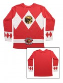 Red Power Rangers Long Sleeve Costume Shirt, halloween costume (Red Power Rangers Long Sleeve Costume Shirt)
