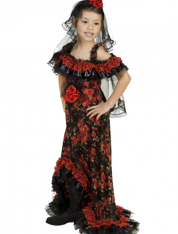 Red Rose Spanish Dancer Costume, halloween costume (Red Rose Spanish Dancer Costume)