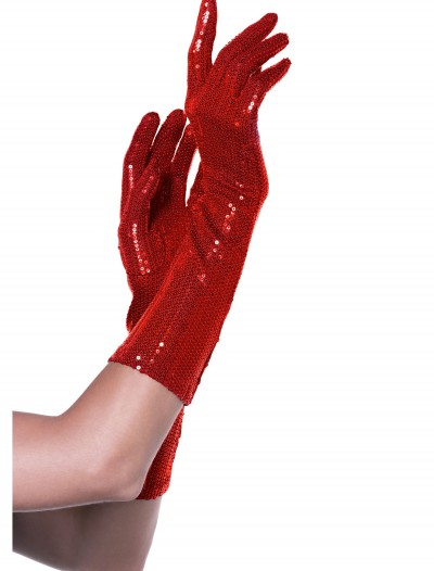 Red Sequin Elbow Length Gloves, halloween costume (Red Sequin Elbow Length Gloves)